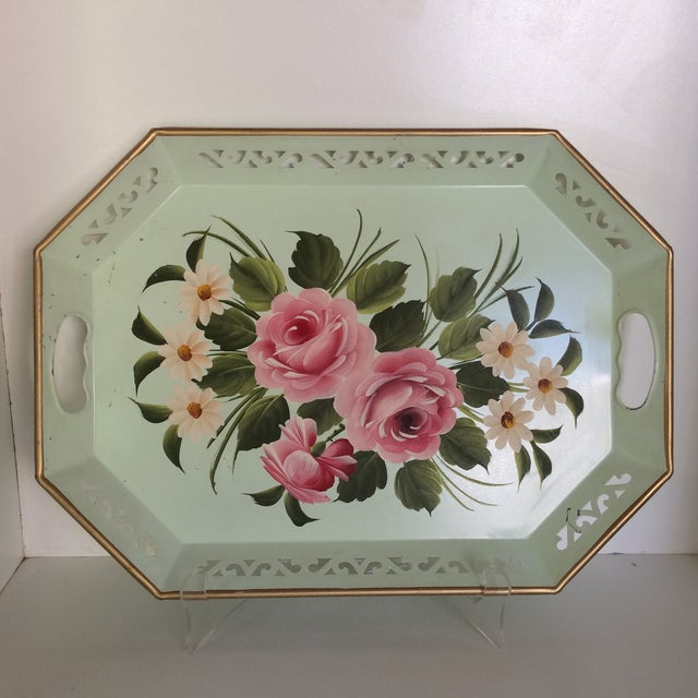 Hand Decorated Light Green Metal Tole Tray With Pink Roses by Pilgram Art For Sale - Image 13 of 13