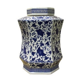 Chinese Blue & White Hexagon Porcelain Jar For Sale