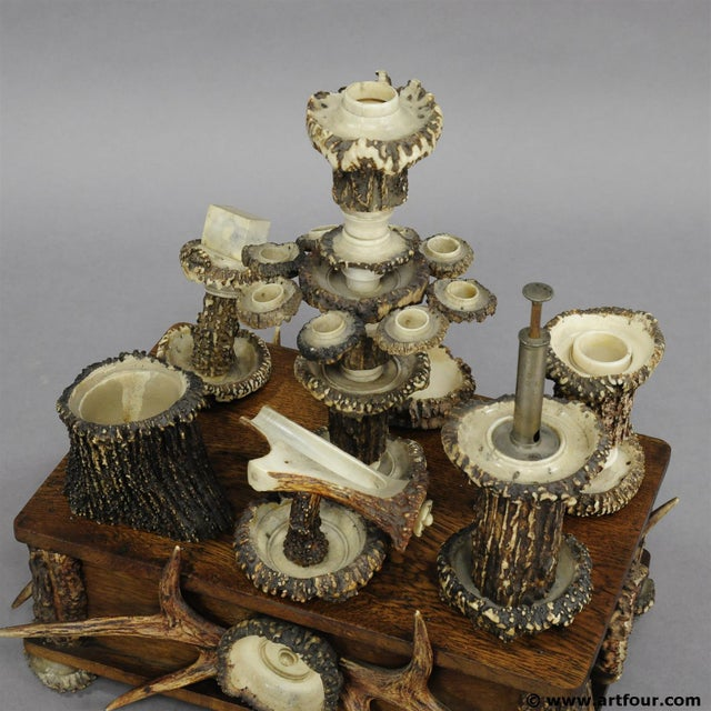 An Elaborate Handmade Black Forest Style Smoking Set Ca. 1900 For Sale - Image 6 of 8