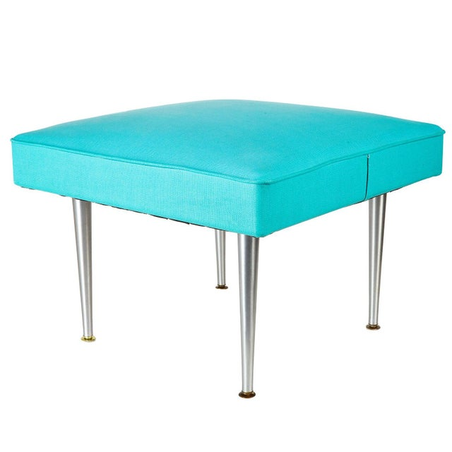 Large Mid Century Blue Square Ottoman Coffee Table Chairish