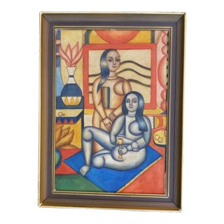 Cubist Art Deco Painting For Sale