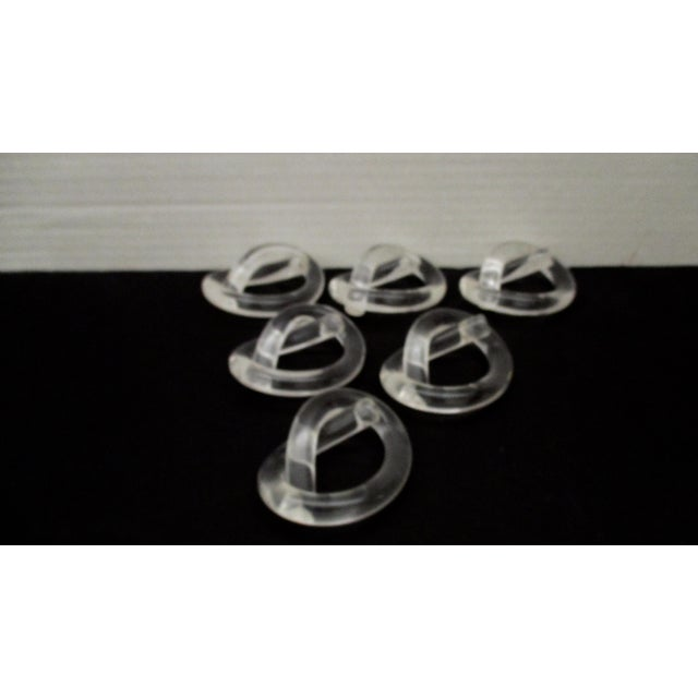 Art Deco Dorothy Thorpe Twisted Pretzel Shape Lucite Napkin Rings - Set of 6 For Sale - Image 3 of 8