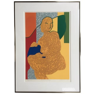 Framed Abstracted Nude Silkscreen Painting For Sale