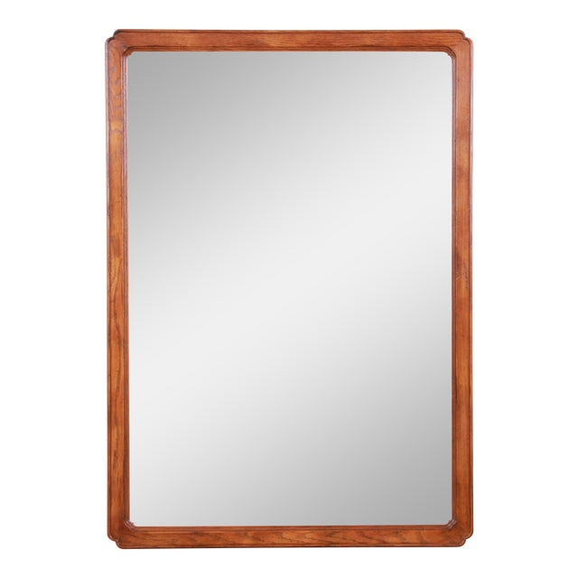 Henredon Oak Beveled Mirror For Sale