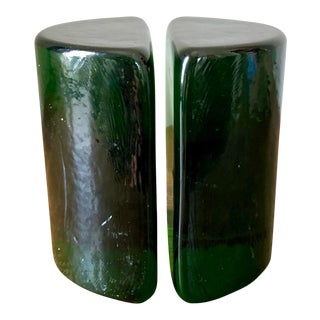 Green Blenko Glass Half Moon Bookends- a Pair For Sale