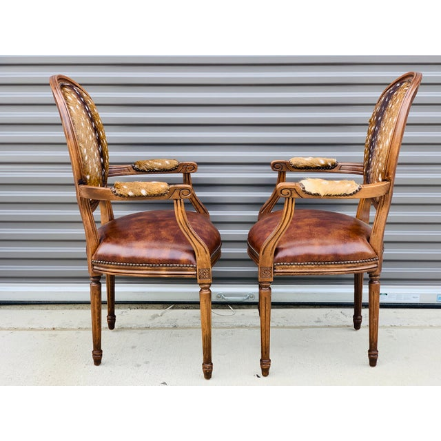 Americana Modern Axis Hide Parlor Chairs- a Pair For Sale - Image 3 of 9