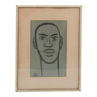 Framed Charcoal Sketch of Man's Face, Signed For Sale