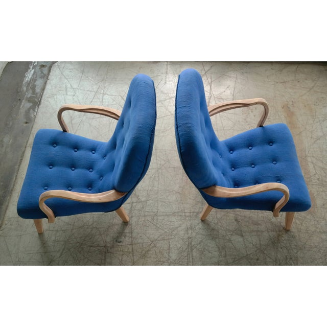 Blue Pair of 1950s Danish Lounge Chairs in the Style of the Clam Chair by Arctander For Sale - Image 8 of 11