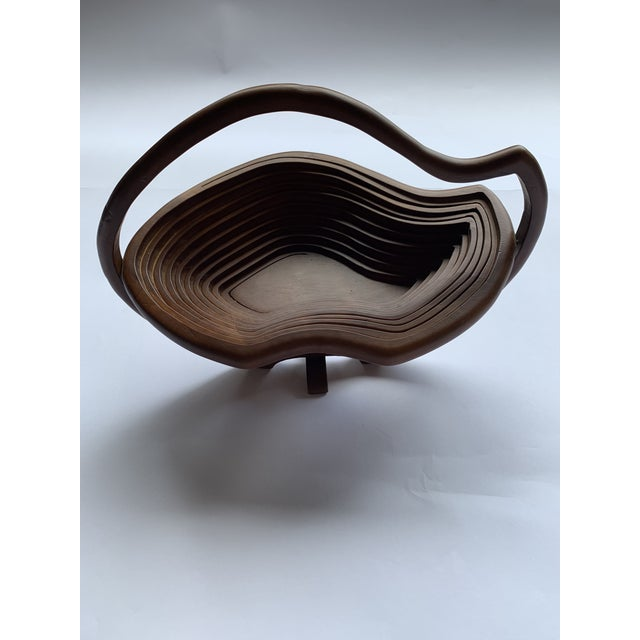 1960s 1960s Vintage Abstract Folk Art Wood Handled Collapsible Basket For Sale - Image 5 of 6