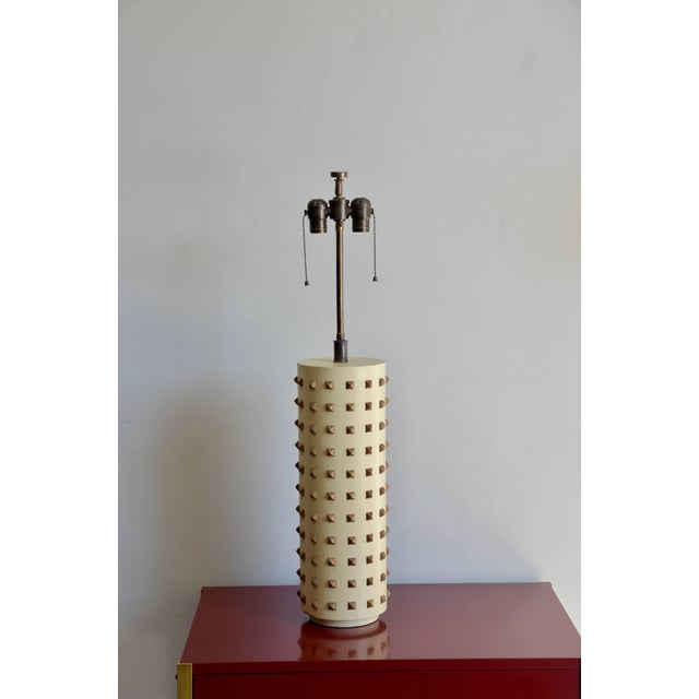Metal Large Studded Cylinder Table Lamp For Sale - Image 7 of 7
