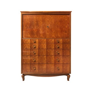Midcentury French Chest of Drawers With Diamond Inlay Detail For Sale
