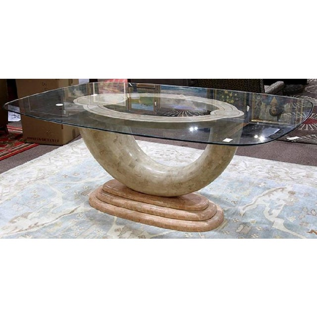 1980s Brass Inlay & Glass Top Tessellated Marble Dining Table Base - Circa 1990s For Sale - Image 5 of 6