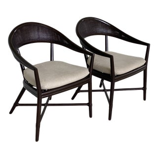 McGuire Cane Arm Side Dining Chairs-Pair For Sale