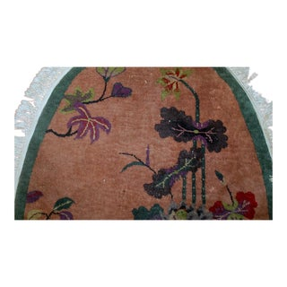 1920s h and made antique oval Art Deco Chinese rug 3' x 4.10' For Sale