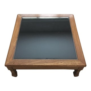 Oak Glass Top Display Cocktail Table For Sale