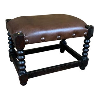 19th Century English Brown Leather Bobbin Footstool For Sale