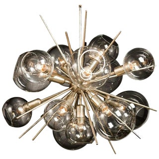 Translucid Blown Glass Pendant Lamp For Sale