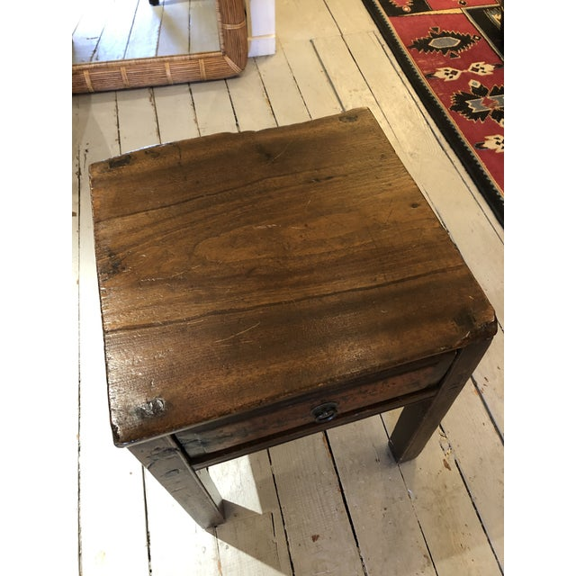 Wood Antique Chinese Rustic Wood End Table With Single Drawer For Sale - Image 7 of 12