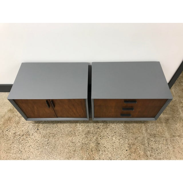 Altavista Lane Midcentury Walnut and Grey Painted Nightstands by Lane - a Pair For Sale - Image 4 of 8