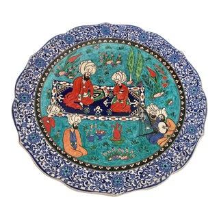 Turkish Ottoman Scene Polychrome Hand Painted Ceramic Plate Kutahya For Sale