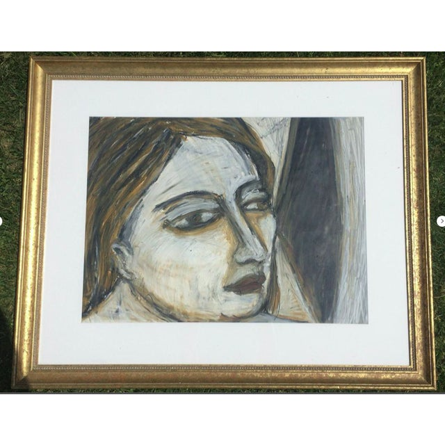 1989 Rebecca Raubacher, Abstract Portrait Oil Stick Drawing Framed For Sale - Image 9 of 9