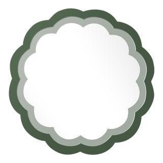 Fleur Home x Chairish Audobon Peony Circle Mirror in Duck Green, 30x30 For Sale