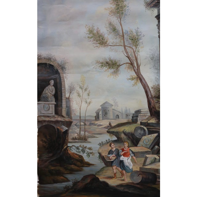 Oil on Canvas Painting of Ancient Ruins Beside a River For Sale - Image 4 of 7