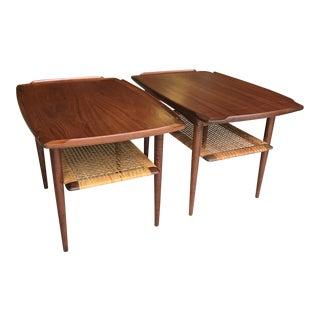 Poul Jensen Teak Cane Side Tables Selig Danish Modern For Sale