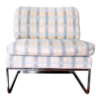1970s Mid Century Modern Chrome Floating Slipper Chair For Sale