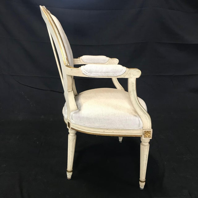Antique Painted Louis XVI Gustavian Style Dining Chairs -Set of 6 For Sale - Image 11 of 13