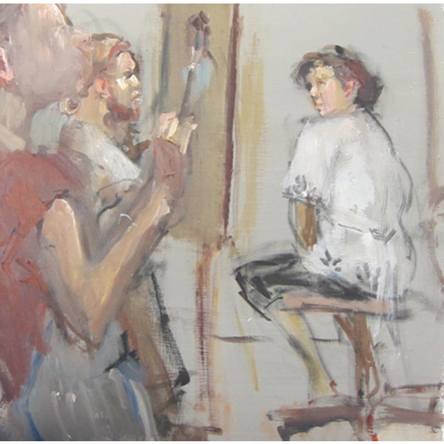 "Oil Paint Fry Oil Painting ""In the Studio"", Contemporary Gray Figurative Scene For Sale - Image 7 of 7"