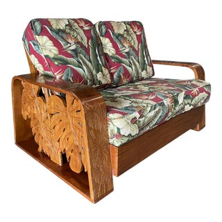 Mid Century Post War Carved Mango Wood Tropical Loveseat For Sale