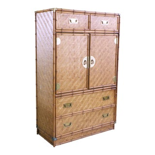 1970s Chinoiserie Dresser Faux Bamboo Chest of Drawers For Sale