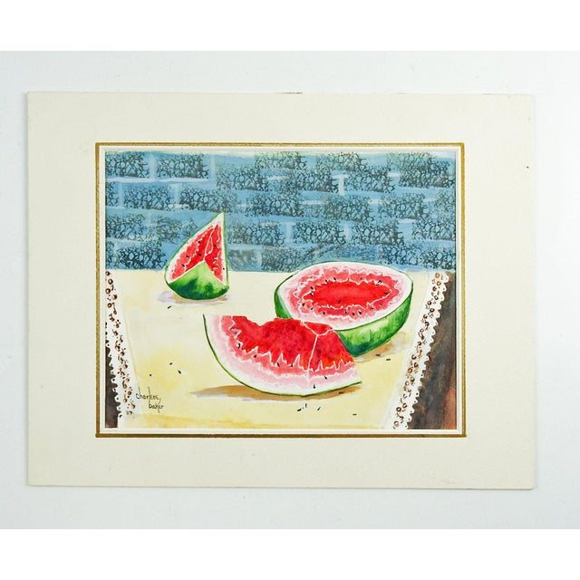Watermelon Still Life Watercolor Painting For Sale - Image 4 of 4