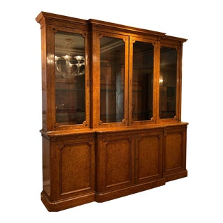 19th Century English Traditional Burlwood Bookcase/Breakfront For Sale