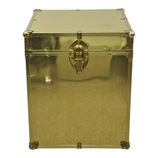 Vintage Brass Clad 19 X 16 Gold Hollywood Regency Storage Trunk Chest Side Table For Sale