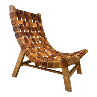 1960s South American Woven Saddle Leather Lounge Chair For Sale