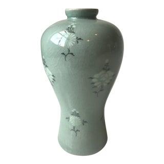 Korean Celadon Vase With Chrysanthemum Floral Inlay For Sale