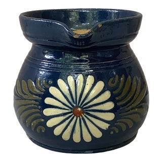 19th Century Blue Daisy French Pottery Flower Pitcher For Sale