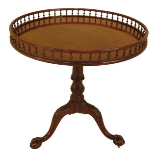 1990s Chippendale Baker Stately Homes Collection Round Tilt Top Mahogany Table For Sale