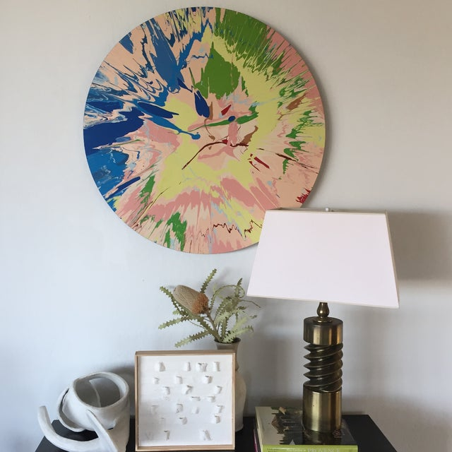 Bright and impactful color field radiates energy. Done in acrylic, this piece has hanging hardware on the back that causes...