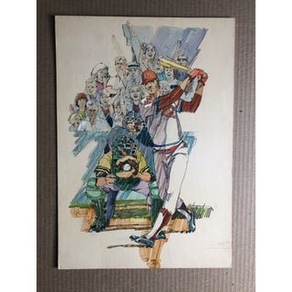 Baseball Painting by Famous Illustrator Hal Ashmead, 1970s Preview