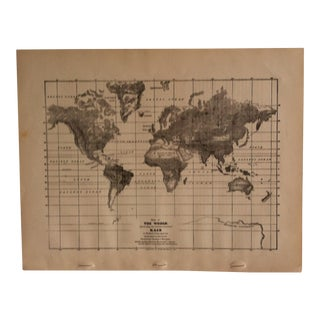 "Antique Geography Map ""The World - Rain"" Sheldon & Company 1867 For Sale"