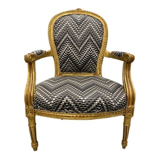19th Century Antique Gilt Wood Louis XVI Bergere Chair For Sale
