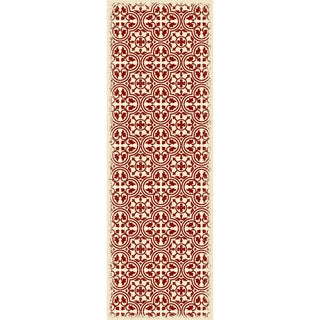 Red & White Quad European Design Rug - 4' X 6'