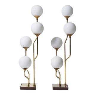 Vintage 1970s Goffredo Reggiani Style Brass Globe Floor Lamps - a Pair For Sale