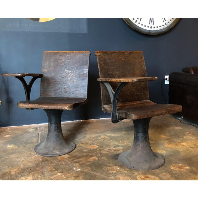 Silver Pair of Vintage Industrial 1920s School Chairs For Sale - Image 8 of 9