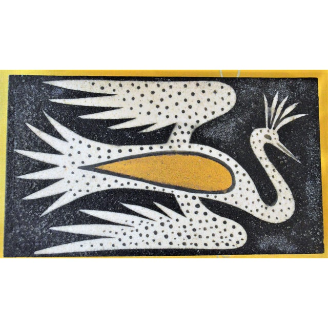1940's Art Deco Waylande Gregory Phoenix Painted Ceramic Tile For Sale - Image 12 of 12