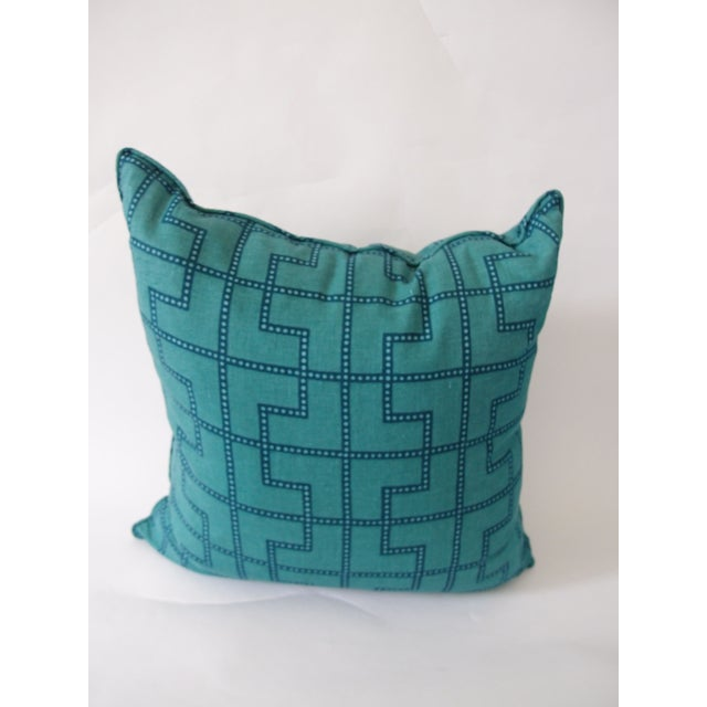 Never been used. Soft colorful jade green and royal blue linen in a geometric pattern. Looks great paired with a smaller...