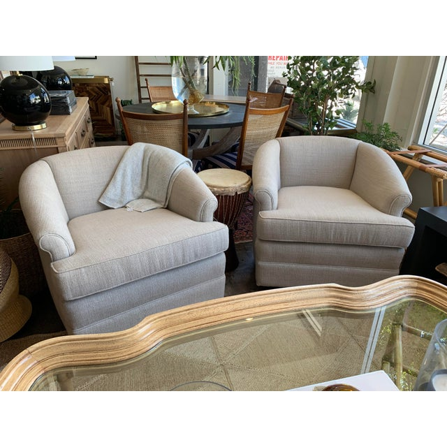 1950s 1950s Vintage Curve Back Natural Linen Swivel Chairs- A Pair For Sale - Image 5 of 7
